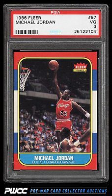 1986 Fleer Basketball Michael Jordan ROOKIE RC 57 PSA 3 VG PWCC