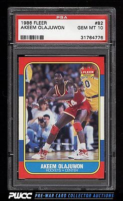 1986 Fleer Basketball Hakeem Olajuwon ROOKIE RC 82 PSA 10 GEM MINT PWCC