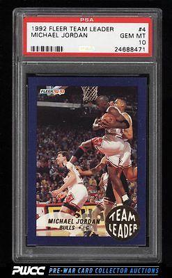1992 Fleer Team Leaders Michael Jordan 4 PSA 10 GEM MINT PWCC