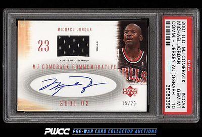 2001 UD MJ Comeback Commemorative Michael Jordan AUTO PATCH 23 PSA 10 PWCC