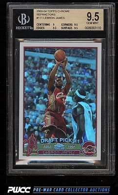 2003 Topps Chrome Refractor LeBron James ROOKIE RC 111 BGS 95 GEM MINT PWCC