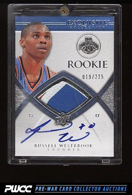 2008 Exquisite Collection Russell Westbrook ROOKIE AUTO 3CLR PATCH 225 PWCC