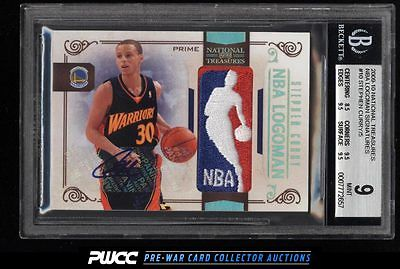 2009 National Treasures NBA Logoman Stephen Curry RC AUTO PATCH 5 BGS 9 PWCC