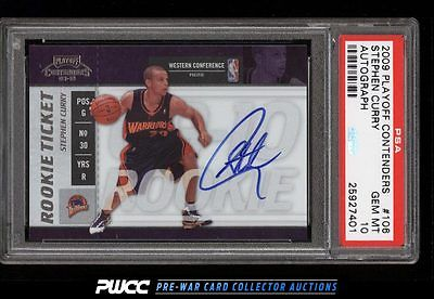 2009 Playoff Contenders Stephen Curry ROOKIE RC AUTO 106 PSA 10 GEM MINT PWCC