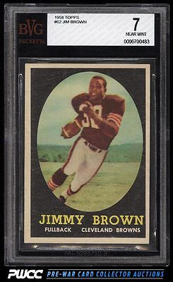 1958 Topps Football Jim Brown ROOKIE RC 62 BVG 7 NRMT PWCC