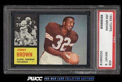 1962 Topps Football Jim Brown 28 PSA 8 NMMT PWCC