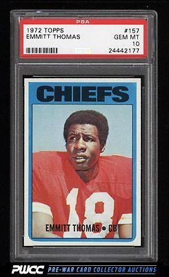 1972 Topps Football Emmitt Thomas ROOKIE RC 157 PSA 10 GEM MINT PWCC