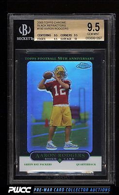 2005 Topps Chrome Black Refractors Aaron Rodgers ROOKIE RC 100 BGS 95 PWCC