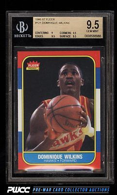 1986 Fleer Basketball SETBREAK Dominique Wilkins ROOKIE RC 121 BGS 95 PWCC