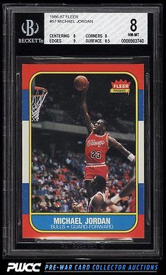 1986 Fleer Basketball Michael Jordan ROOKIE RC 57 BGS 8 NMMT PWCC