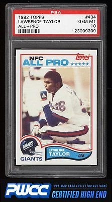 1982 Topps Football Lawrence Taylor ROOKIE RC 434 PSA 10 GEM MINT PWCCHE