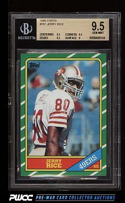 1986 Topps Football Jerry Rice ROOKIE RC 161 BGS 95 GEM MINT PWCC