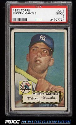 1952 Topps Mickey Mantle 311 PSA 2 GD PWCC