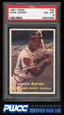 1957 Topps Hank Aaron 20 PSA 8 NMMT PWCCHE