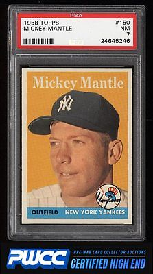 1958 Topps Mickey Mantle 150 PSA 7 NRMT PWCCHE