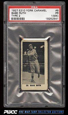 1927 E210 York Caramels Type 2 Babe Ruth 6 PSA 1mk PR PWCC