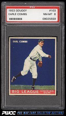 1933 Goudey Earle Combs 103 PSA 8 NMMT PWCC