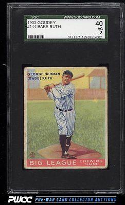 1933 Goudey Babe Ruth 144 SGC 340 VG PWCC