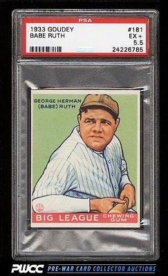 1933 Goudey Babe Ruth 181 PSA 55 EX PWCC