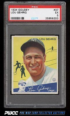 1934 Goudey Lou Gehrig YELLOW 37 PSA 5 EX PWCC