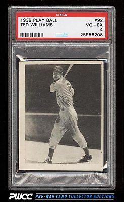 1939 Play Ball Ted Williams ROOKIE RC 92 PSA 4 VGEX PWCC