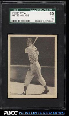 1939 Play Ball Ted Williams ROOKIE RC 92 SGC 560 EX PWCC