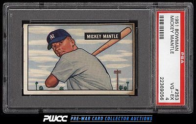 1951 Bowman Mickey Mantle ROOKIE RC 253 PSA 4 VGEX PWCC