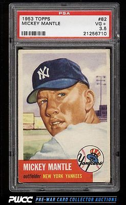 1953 Topps Mickey Mantle SHORT PRINT 82 PSA 35 VG PWCC