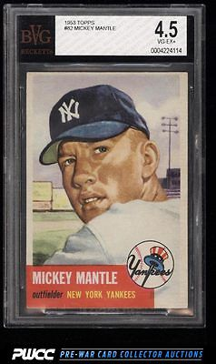 1953 Topps Mickey Mantle SHORT PRINT 82 BVG 45 VGEX PWCC
