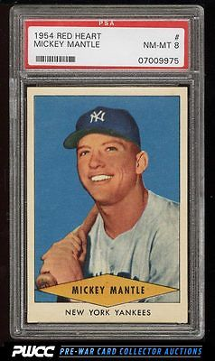 1954 Red Heart Mickey Mantle PSA 8 NMMT PWCC