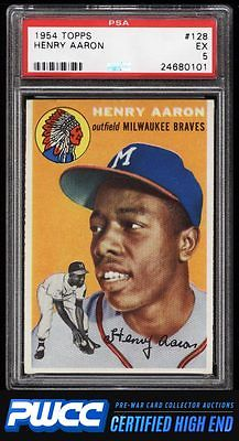 1954 Topps Hank Aaron ROOKIE RC 128 PSA 5 EX PWCCHE