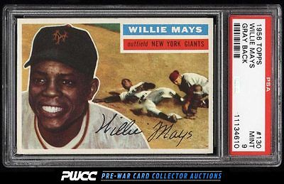 1956 Topps Willie Mays 130 PSA 9 MINT PWCC