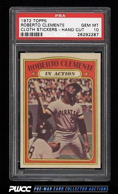 1972 Topps Cloth Stickers Roberto Clemente IA PSA 10 GEM MINT PWCC