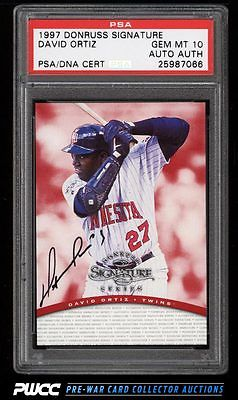 1997 Donruss Signature David Ortiz ROOKIE RC PSADNA AUTO PSA 10 GEM MT PWCC