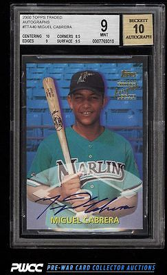 2000 Topps Traded Autographs Miguel Cabrera ROOKIE RC AUTO BGS 9 MINT PWCC