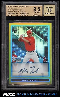 2009 Bowman Chrome Gold Refractor Mike Trout ROOKIE RC AUTO 50 BGS 95 PWCC