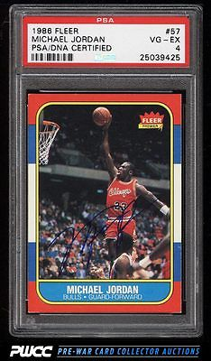 1986 Fleer Basketball Michael Jordan ROOKIE RC AUTO 57 PSA 4 VGEX PWCC
