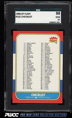 1986 Fleer Basketball Checklist 1132 132 SGC 1098 GEM PWCC