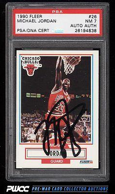 1990 Fleer Basketball Michael Jordan PSADNA AUTO 26 PSA 7 NRMT PWCC