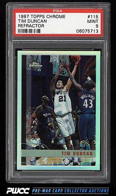 1997 Topps Chrome Refractor Tim Duncan ROOKIE RC 115 PSA 9 MINT PWCC