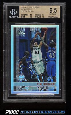 1997 Topps Chrome Refractor Tim Duncan ROOKIE RC 115 BGS 95 GEM MINT PWCC