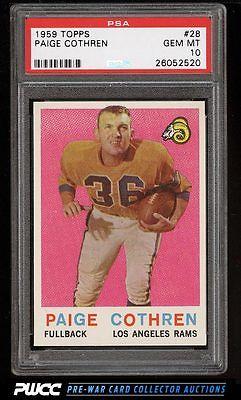 1959 Topps Football Paige Cothren 28 PSA 10 GEM MINT PWCC