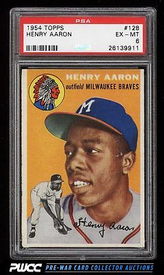 1954 Topps Hank Aaron ROOKIE RC 128 PSA 6 EXMT PWCC