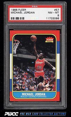 1986 Fleer Basketball Michael Jordan ROOKIE RC 57 PSA 8 NMMT PWCC