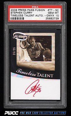 2009 Press Pass Fusion Timeless Onyx Stephen Curry ROOKIE AUTO 25 PSA 10 PWCC