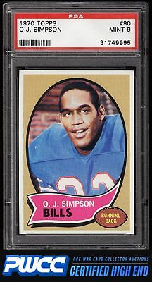 1970 Topps Football OJ Simpson ROOKIE RC 90 PSA 9 MINT PWCCHE