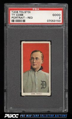 190911 T206 Ty Cobb RED PORTRAIT TOLSTOI PSA 2 GD PWCC