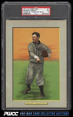 1911 T3 Turkey Red Mordecai Brown CHECKLIST BACK 1 PSA 5 EX PWCC
