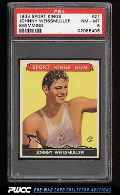 1933 Goudey Sport Kings SETBREAK Johnny Weissmuller SWIMMING 21 PSA 8 PWCC