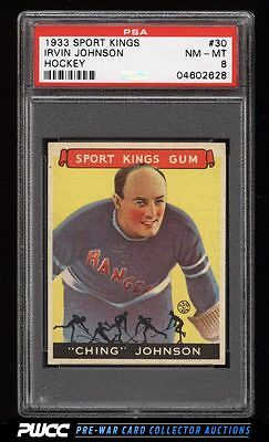 1933 Goudey Sport Kings SETBREAK Irvin Johnson HOCKEY 30 PSA 8 NMMT PWCC